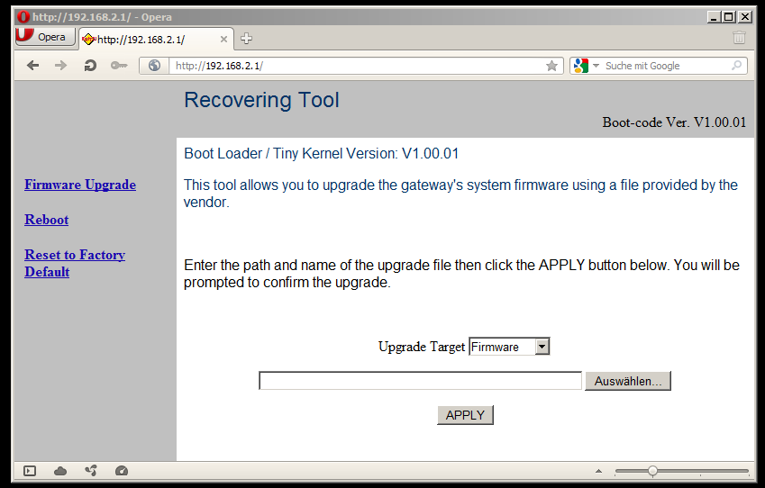screenshot of the brn-boot recovery web interface
