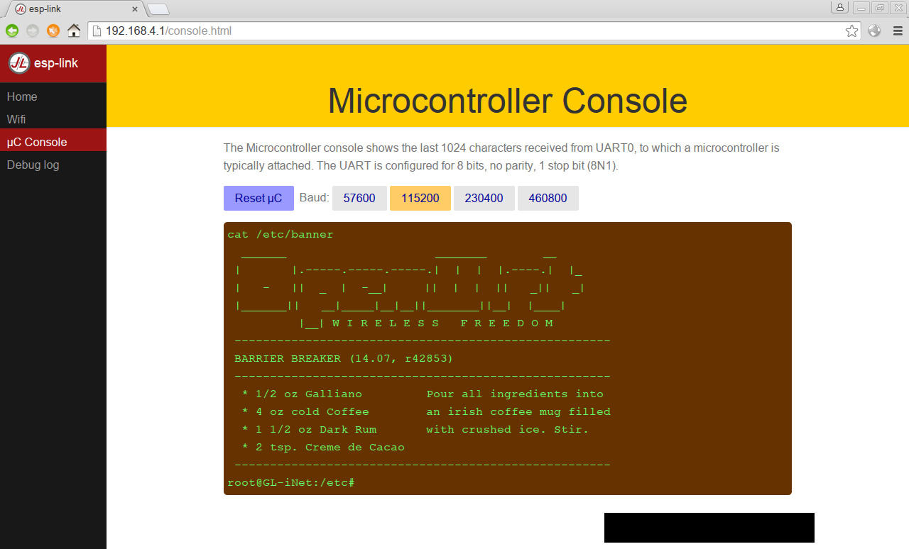 OpenWrt Project: ESP8266 serial bridge